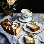 afternoon tea banana bread one tea cup two plates , flowers