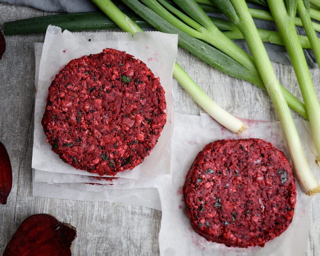 Delicious vegan Red Beet, White Bean &Quinoa Burger from above, uncooked
