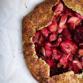 Rhubarb Strawberry Galette, picture taken as a flat lay