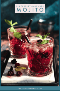 Blackberry Mojitos on a white marbled plate