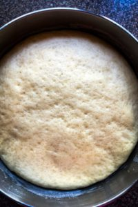 Brioche dough after the first riising