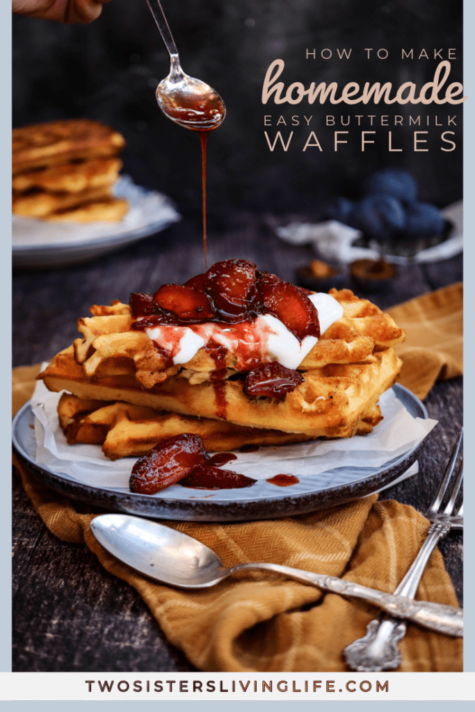 easy homemade waffles on a blue plate, easy waffles recipe, breakfast recipe, breakfast idea