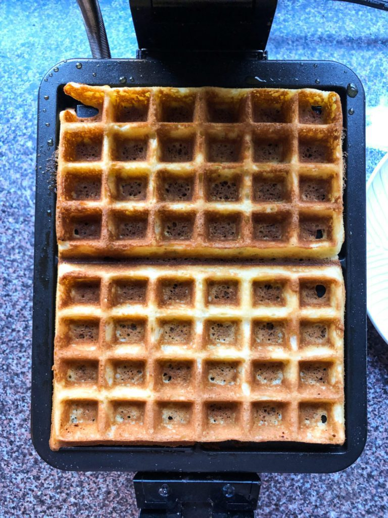 waffles in the waffle iron, easy breakfast recipes , homemade waffles