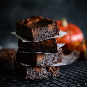 Fudgy Pumpkin Swirl brownies