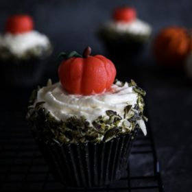 Pumpkin Cupcake with Vanilla cream cheese frosting and marzipan pumpkin