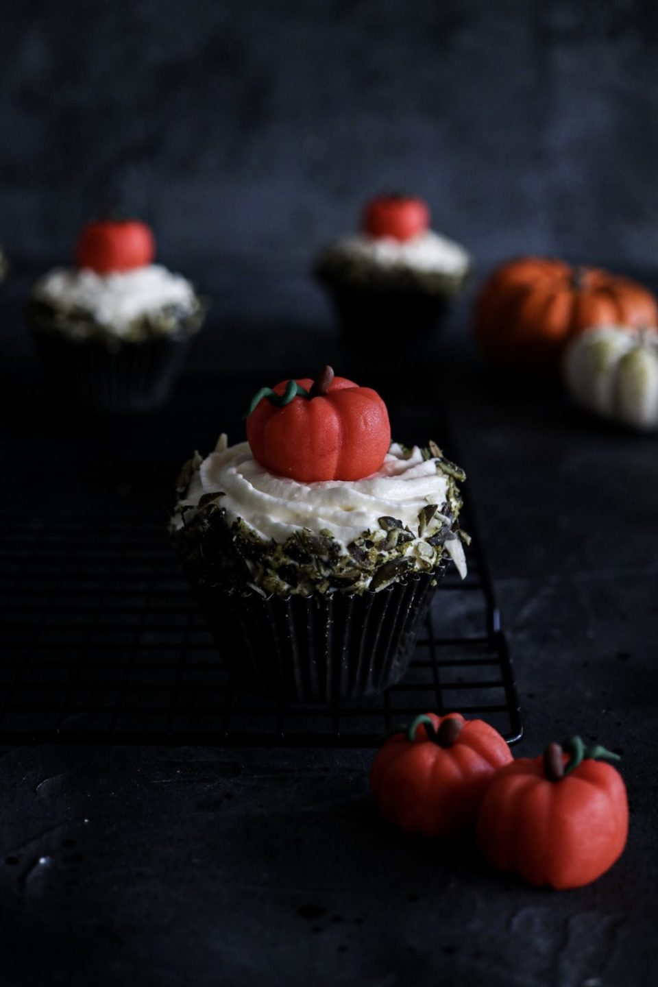 Pumpkin Cupcake with Vanilla cream cheese frosting and self-made marzipan pumpkin
