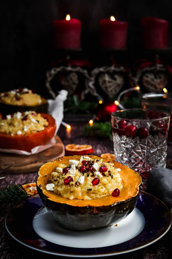 pumpkin risotto on a blue and white plate , vegetarian christmas recipe , holiday recipe , main course