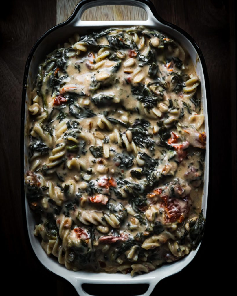 vegan pasta, creamy vegan pasta casserole, spinach