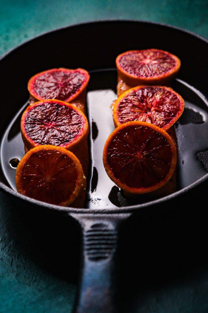 salmon rice bowl , veggies , blood oranges salmon recipe
