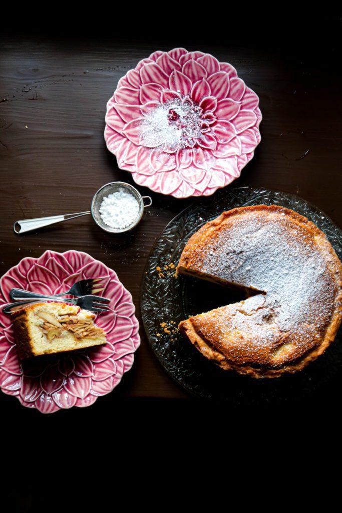 Apple pie cake cut into a piece